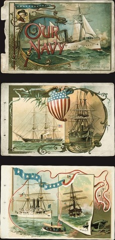 Schumacher & Ettlinger, lithographers, cover and pages from Our Navy premium booklet