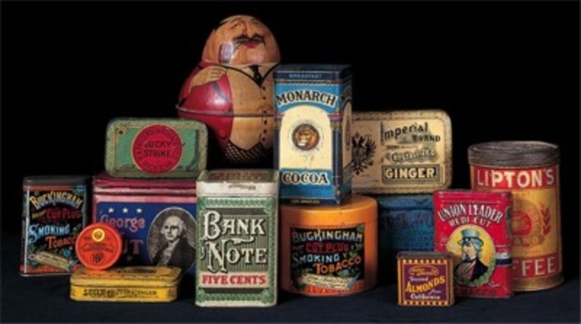 Package designs chromolithographed on tin for food and tobacco products