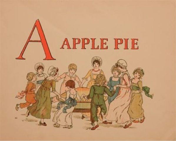 Kate Greenaway, page from A Apple Pie