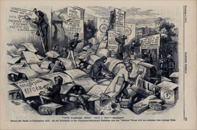 Thomas Nast, political cartoon from Harper's Weekly,