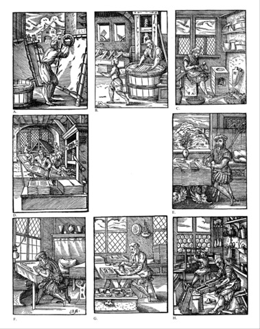5–11. Jost Amman, woodcut illustrations for Ständebuch (Book of Trades),