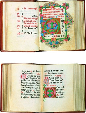 7–3 and 7–4. Nicolas Jenson, pages from Incipit officium beate Marie virginus secundum consuetudinem romane curie (Little Office of the Virgin Mary), 1475.