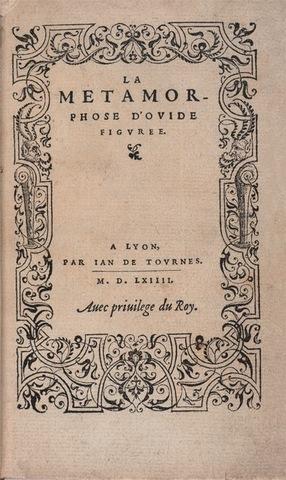 7–46. Jean de Tournes (printer) and Bernard Salomon (illustrator), title page from Ovid's La vita et metamorfoseo (Metamorphoses),