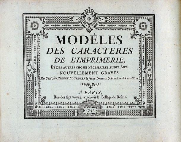 8–4. Pierre Simon Fournier le Jeune. Title page for his first specimen book, Modèles des caractères de l'imprimerie (Models of Printing Characters), 1742.