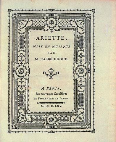 –5. Pierre Simon Fournier le Jeune, title page for Ariette, mise en musique (Short Aria, Set to Music),