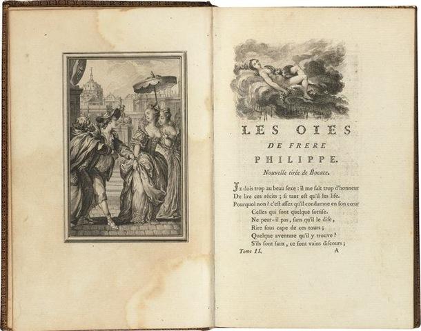 8–6. Pierre Philippe Choffard, pages from Contes et nouvelles en vers (Tales and Novellas in Verse), by Jean de La Fontaine, 1762