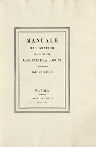 8–23. Giambattista Bodoni, title page from Manuale tipografico,