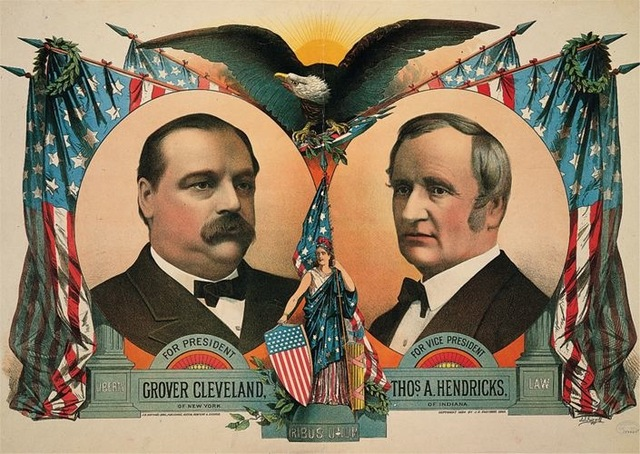 9–53. S. S. Frizzall (artist) and J. H. Bufford's Sons (printers), poster for the Cleveland and Hendricks presidential campaign, 1884.