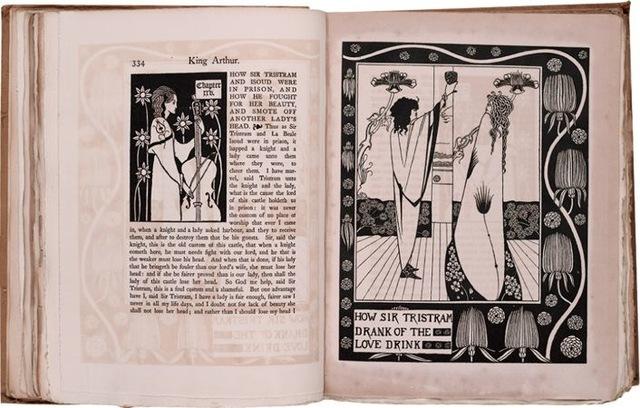 11–17. Aubrey Beardsley, illustrations on double-page spread for Morte d'Arthur