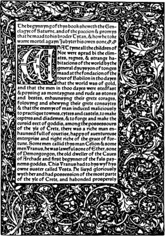 11–20. William Morris, page from The Recuyell of the Historyes of Troye,