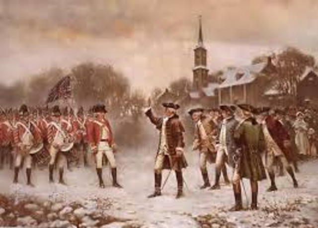 Minutemen and redcoats clash at Lexington and Concord