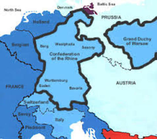 Ths states of southern Germany formed into the Confederation of the Rhine under French protection