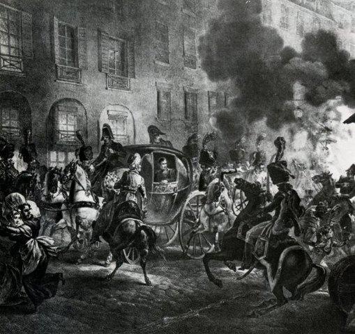 Napoleon narrowly escapes a royalist assassination attempt in Paris