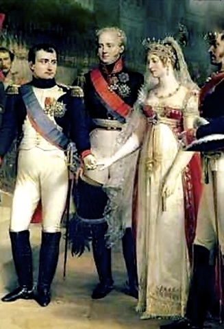 Napoleon meets his second wife, Marie Louise of Austria, for the first time