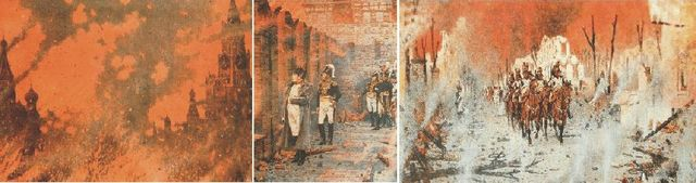 Napoleon arrives in Moscow to find the city abandoned and set alight by the inhabitants; retreating in the midst of a frigid winter, the army suffers great losses.