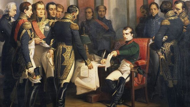 Napoleon abdicates his rule and Louis XVIII, a Bourbon, is put on the French throne by the Allies