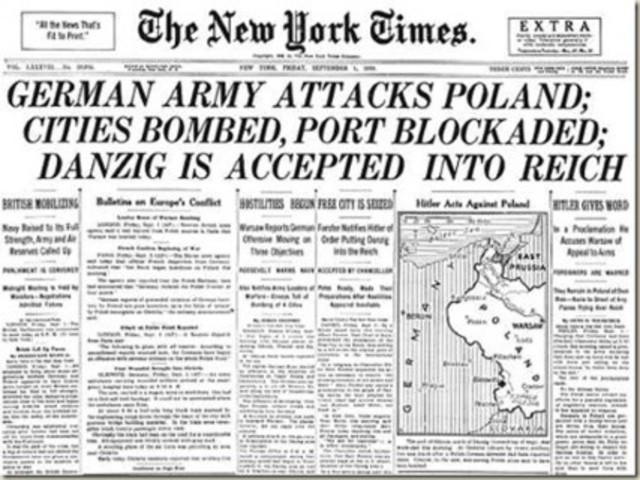 Germany invades Poland, initiating World War II in Europe