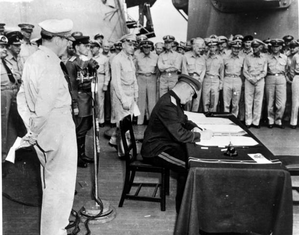 Having agreed in principle to unconditional surrender on August 14, 1945, Japan formally surrenders, ending World War II