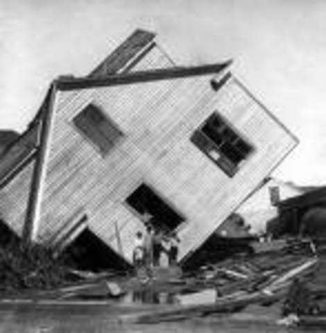 Hurricane hits Galveston.