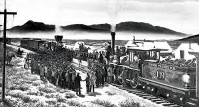 First transcontinental railroad is completed