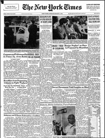 """A confidential memo to Nixon from Pat appears on the front page of the New York Times: """"Benign Neglect' on Race is Proposed by Moynihan"""""""
