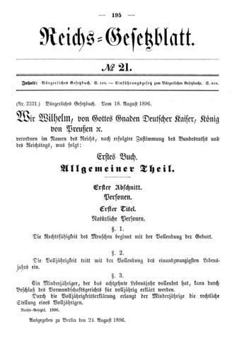 Derecho Comercial: promulgación código de comercio alemán