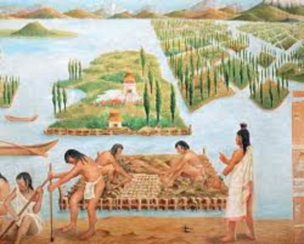 Los aztecas en México cosechan algas de los lagos como una fuente de alimento.