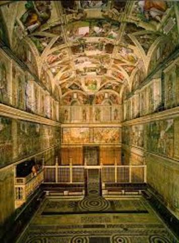 Michaelangelo begins painting Sistine Chapel