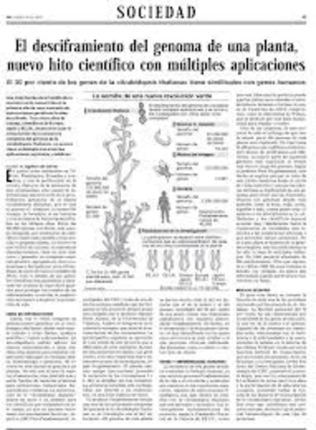 Primera secuencia del genoma de una planta