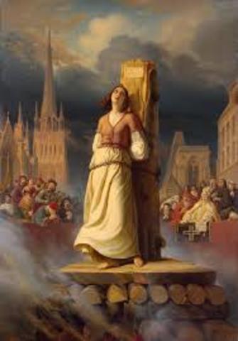 Joan of Ark burned at stake