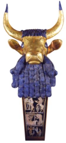 Bull-headed harp with inlaid sound box