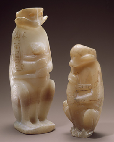 Two Vases in the Shape of a Mother Monkey with Her Young