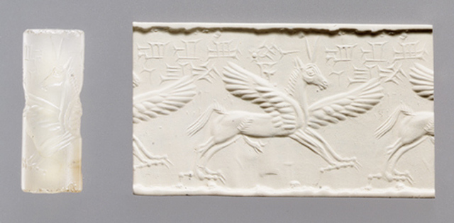 Cylinder seal and modern impression with winged horse with claws and horns