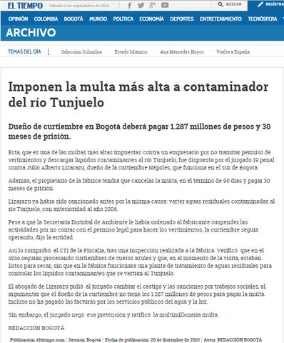 CONTAMINACION DEL RIO TUNJUELO