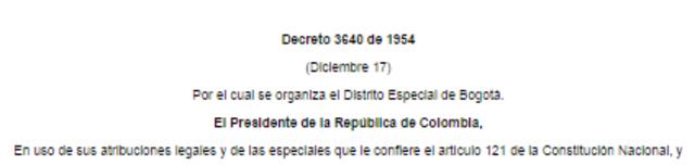 DISTRITO ESPECIAL DE BOGOTA