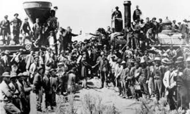 Transcontinental railroad is completed