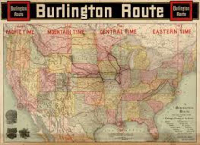 Railroads set up standard time zones