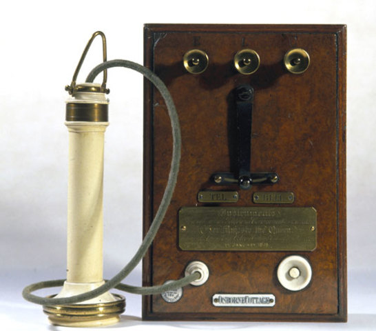 Bell patents telephone.