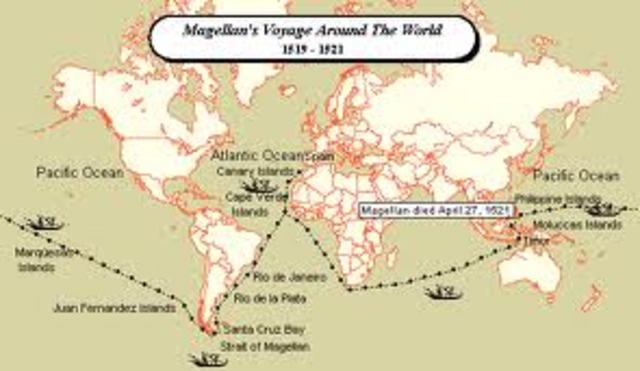 "Maggellan starts his ""around the world"" trip"