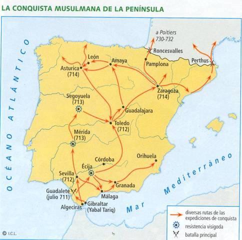711 d. C. - Conquista árabe de territorios españoles