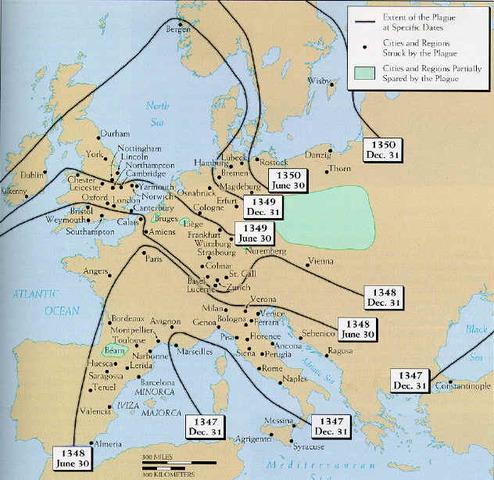 Black Death Arrives in mainland Europe
