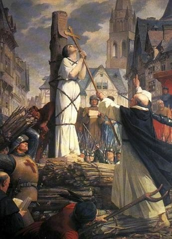 Joan Of Arc burned at the steak and declared a heretic