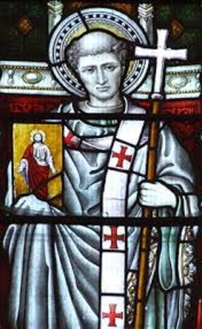 St. Augustine, sent by Pope Gregory, founded abbey at Canterbury