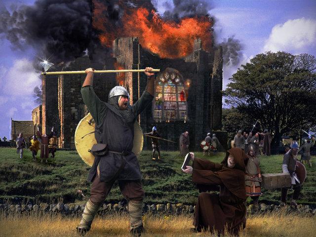 Vikings sack Lindisfarne monastery
