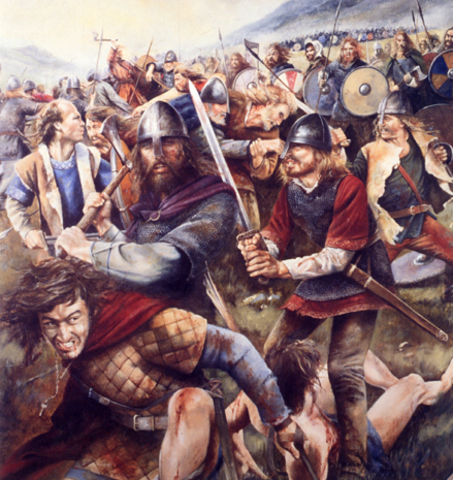 Viking army kills rival kings of Northumbria, capturing York