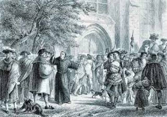 Martin Luther posts 95 Theses