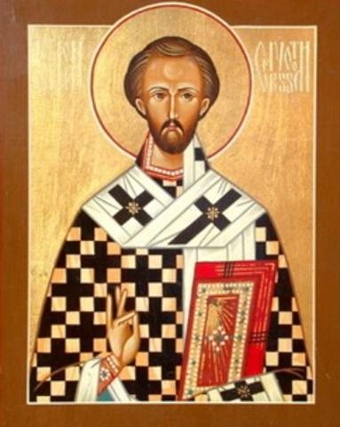 San Juan Crisóstomo intenta persuadir a los padres de confiar la educación de sus hijos a los monjes.