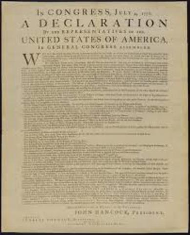 Adopted and printed Declaration of Independence