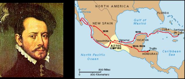 Cortes invades Mexico