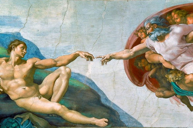 Michaelangelo paints Sistine Chapel